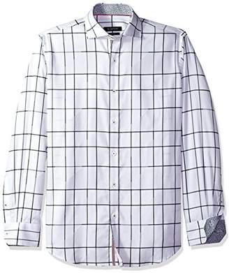 Bugatchi Men's Classic Fit Windowpane Plaid Long Sleeve Woven