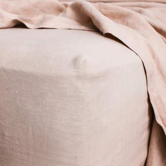 Lulu & Georgia Cultiver Linen Bedding, Blush Fitted Sheet