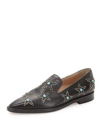 Valentino Star Cabochon Leather Loafer, Black/Turquoise $1,095 thestylecure.com