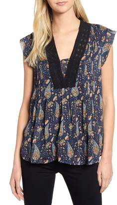 Daniel Rainn Lace Detail Paisley Top