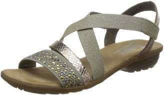 Rieker Women Sandals beige, (beige/kupfer/lightgo) V3463-60