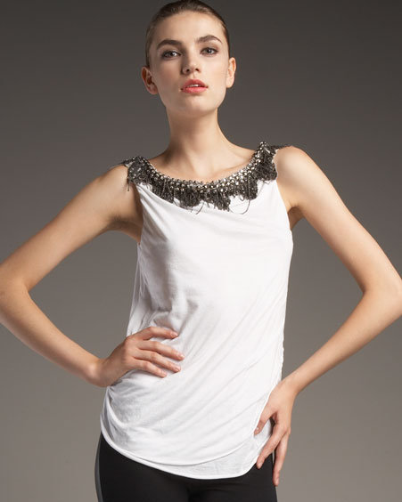 Alice + Olivia Bead-Neck Tee