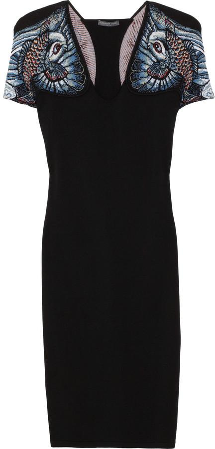 Alexander McQueen Jacquard-paneled wool-blend jersey dress