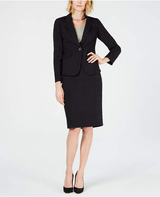 Le Suit Plaid One-Button Skirt Suit