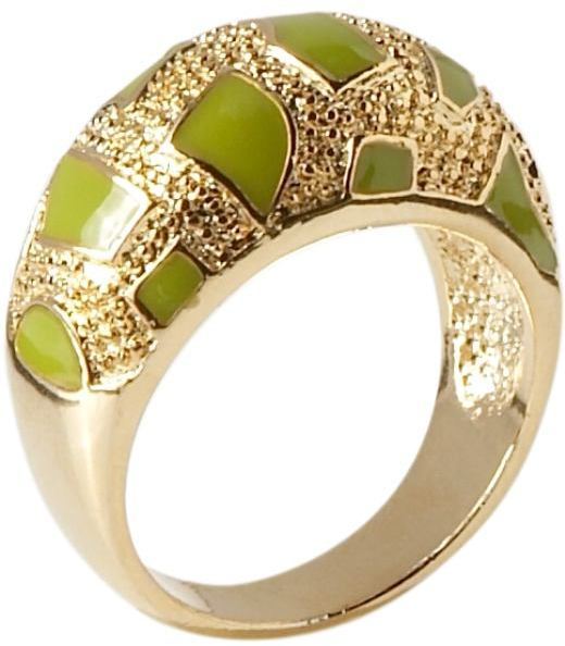 Women's Faux-Gold Enamel Dome Rings