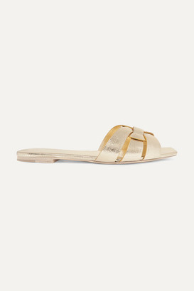 Saint Laurent Nu Pieds Woven Metallic Cracked-leather Slides - Gold