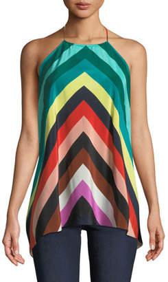 Diane von Furstenberg Strappy Striped Silk Halter Scarf Blouse