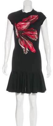 Alexander McQueen Wool Flower Graphic Mini Dress