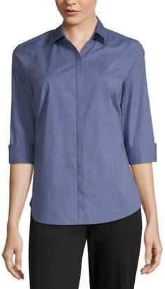 Liz Claiborne Womens 3/4 Sleeve Button-Front Shirt