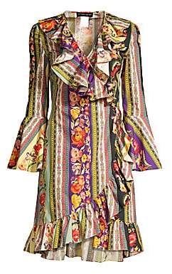 Etro Women's Ruffled Floral Faux Wrap Dress