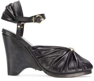 Munoz Vrandecic ruched open toe wedge sandals