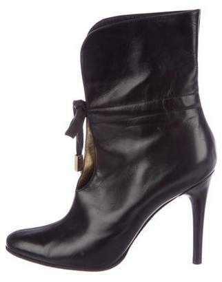 Dolce & Gabbana Leather Round-Toe Mid-Calf Boots