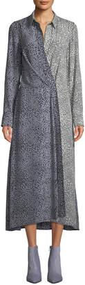 Rag & Bone Karen Two-Tone Draped Midi Dress