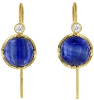 Cathy Waterman Cabochon Kyanite Earrings - Yellow Gold