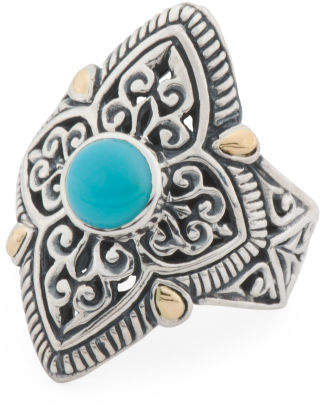 Made In Indonesia 18k Gold And Sterling Silver Turquoise Ring