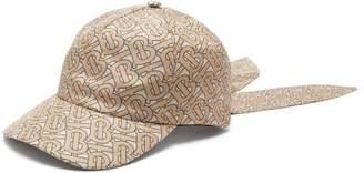 Burberry Monogram Logo Print Silk Tie Cap - Womens - Camel