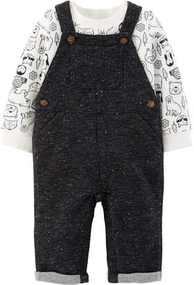 Carter's Baby Boy Animal Thermal Tee & French Terry Overalls Set