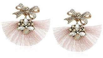 Badgley Mischka Pink Fringe and Bow Encrusted Drop Earrings