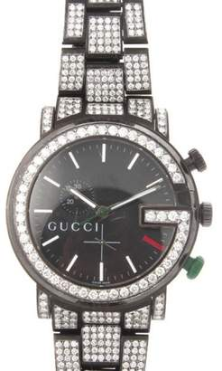 Gucci Chrono G Black Stainless Steel & Diamonds Bezel Mens Watch