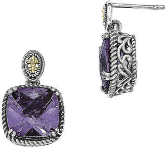 Couture FINE JEWELRY Shey Genuine Amethyst Sterling Silver and 14K Gold Dangle Post Earrings