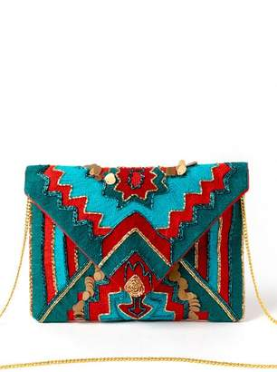 francesca's Iris Beaded and Embroidered Clutch - Red