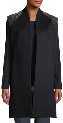 Neiman Marcus Luxury Double-Face Chain-Shoulder Cashmere Vest