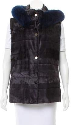 Oscar de la Renta Fur-Trimmed Broadtail Vest w/ Tags