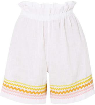 Rickrack-trimmed Linen Shorts - White