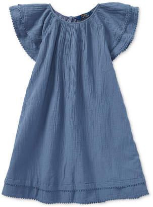 Polo Ralph Lauren Flutter-Sleeve Cotton Dress, Big Girls