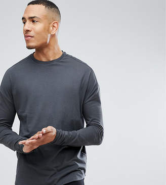 Asos Design DESIGN Tall oversized long sleeve t-shirt with slim arm in washed black