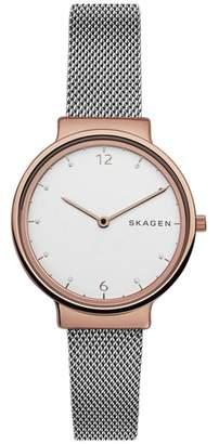 Skagen Ancher Crystal Mesh Strap Watch, 34mm