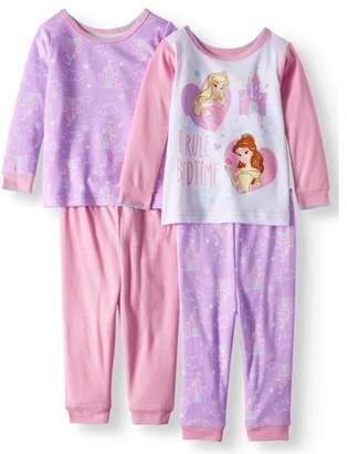 Disney Princess Cotton Tight Fit Pajamas, 4-piece Set (Baby Girls)