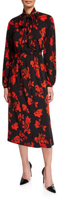 Tory Burch Floral Tie-Neck Long-Sleeve Jersey Bow Dress