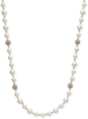 "Charter Club Gold-Tone Pave Bead & Imitation Pearl Strand Necklace, 42"" + 2"" extender"