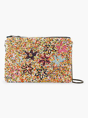 At John Lewis And Partners Unmade Leia Fl Beaded Clutch Multi