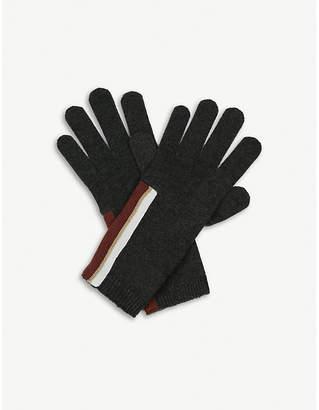 Brunello Cucinelli Striped cashmere gloves