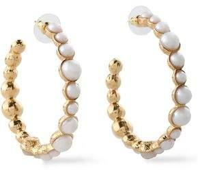 Kenneth Jay Lane Gold-tone Faux Pearl Hoop Earrings