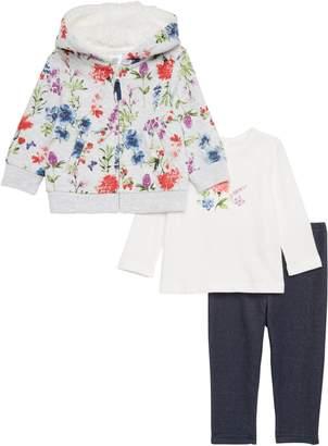 Little Me Floral Quilted Hoodie, Tee & Leggings Set