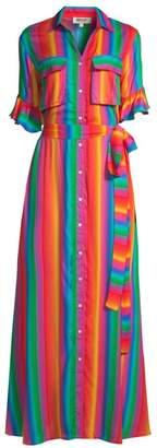 All Things Mochi Leilani Rainbow Stripe Maxi Shirtdress