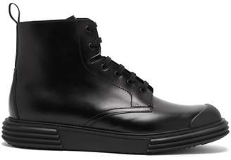 Prada Lace Up Leather Boots - Mens - Black