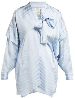 Maison Rabih Kayrouz Striped Satin Blouse - Womens - Light Blue