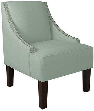 One Kings Lane Cam Swoop-Arm Chair - Swedish Blue Linen