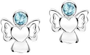 Jo for Girls March Birthstone Angel Stud Earrings in Sterling Silver with Cubic Zirconia
