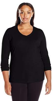 Just My Size Long-Sleeve V-Neck 100% Cotton Women's Tee_Violet Splendor_2X