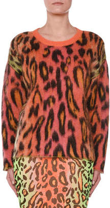 Stella McCartney Animal-Print Oversized Neon Mohair Pullover Sweater