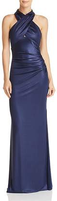 Laundry by Shelli Segal Sleeveless Crisscross Satin Gown