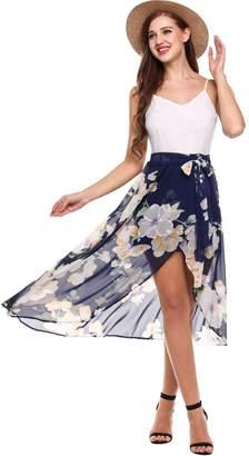 Meaneor Women's Spaghetti Strap Dress Lace Flower Print High Low Hem Slit Dress W XXL