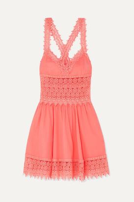 Charo Ruiz Ibiza Marilyn Crocheted Lace-paneled Cotton-blend Mini Dress - Coral