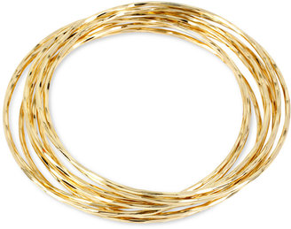 Hint of Gold Thin Bangle Bracelet Set in 14k Gold over Metal $70 thestylecure.com