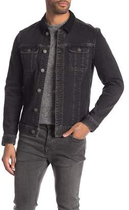AllSaints Leith Suede Collar Denim Jacket